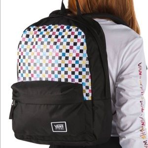 👩VANS REALM GLITTER🌈CHECKERBOARD 🎒 BACKPACK NEW